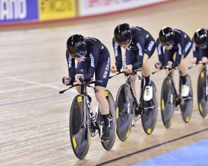 The women's team pursuit in action at the UCI World Championships in London this year. (Credit: Guy Swarbrick)